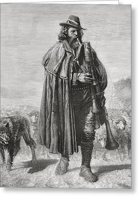 19th Century Italian Shepherd With His Greeting Card
