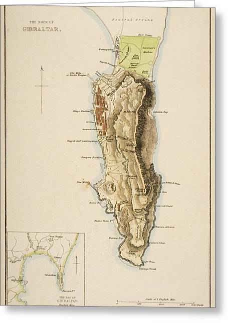 19th Century Map Of The Rock Of Greeting Card by Vintage Design Pics