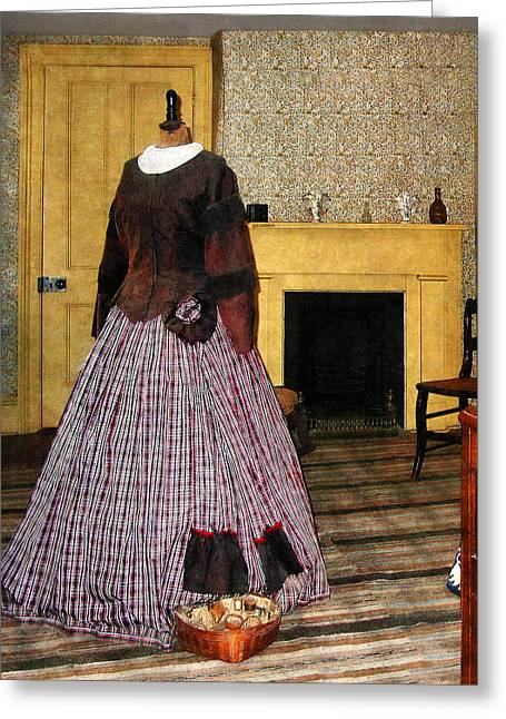 19th Century Plaid Dress Greeting Card by Susan Savad
