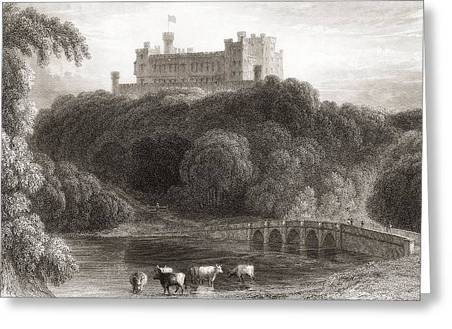 19th Century View Of Belvoir Castle Greeting Card by Vintage Design Pics