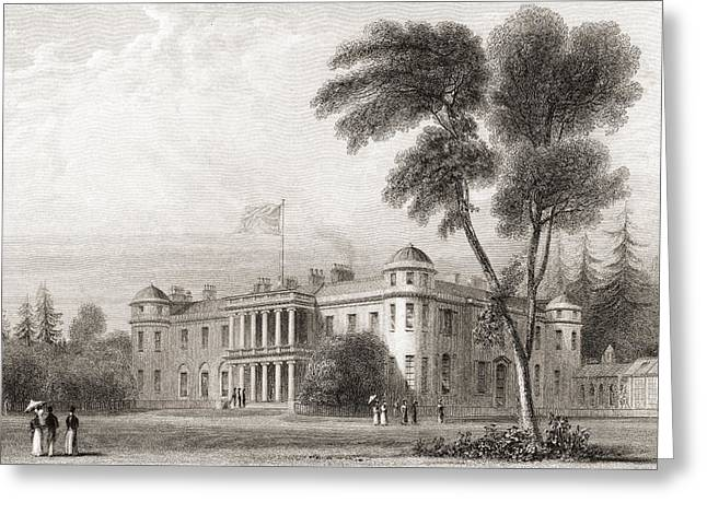 19th Century View Of Goodwood House Greeting Card