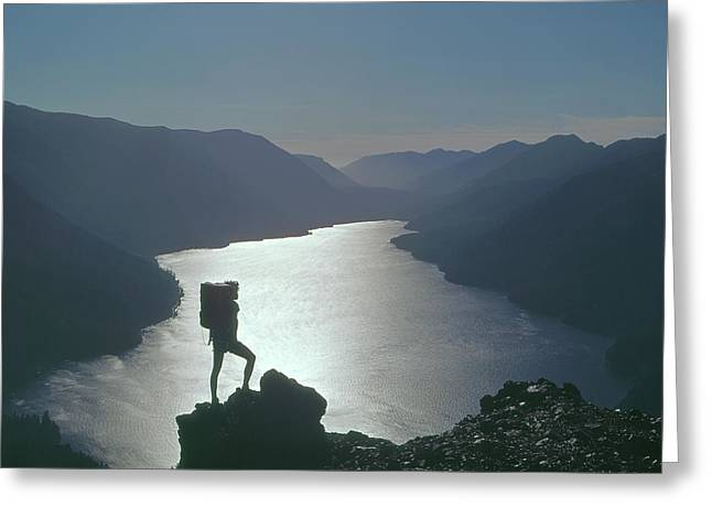 Greeting Card featuring the photograph 1a4042 Silhouette At Crescent Lake Wa by Ed Cooper Photography