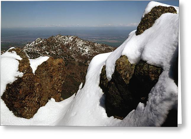 Greeting Card featuring the photograph 1a6485 Snow On Mt. Diablo Ca by Ed Cooper Photography