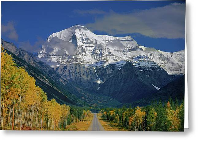 1m2441-h Mt. Robson And Yellowhead Highway H Greeting Card