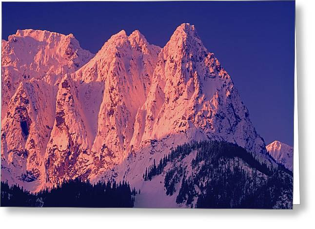 1m4503-a Three Peaks Of Mt. Index At Sunrise Greeting Card