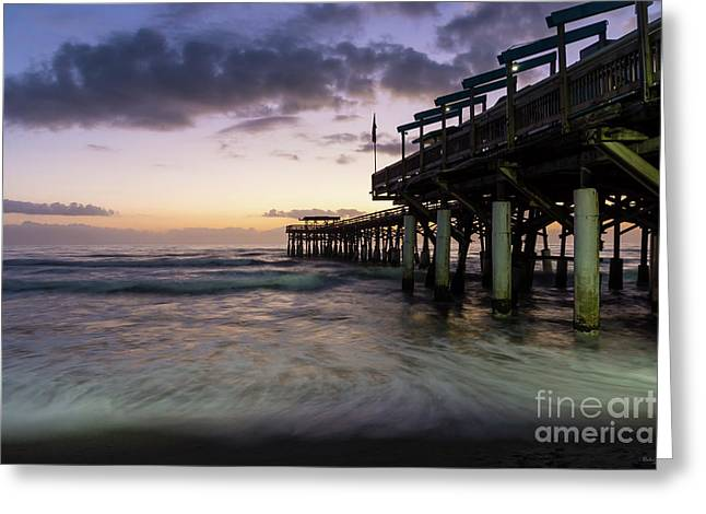 1st Dawn Cocoa Pier Greeting Card