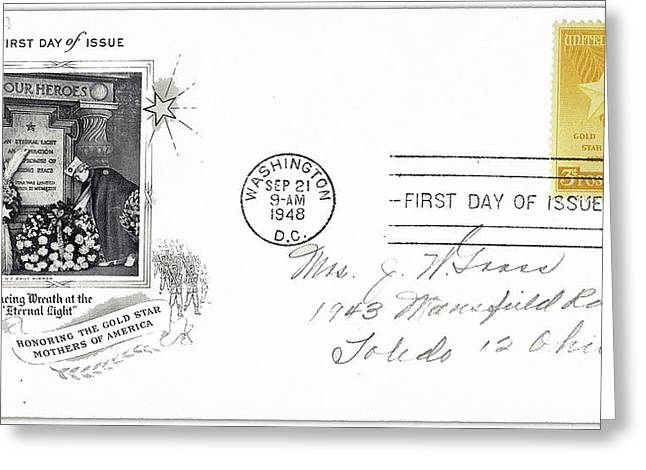 1st Day Cover Gold Star Mothers Number 1 1948 Color Added 2016 Greeting Card