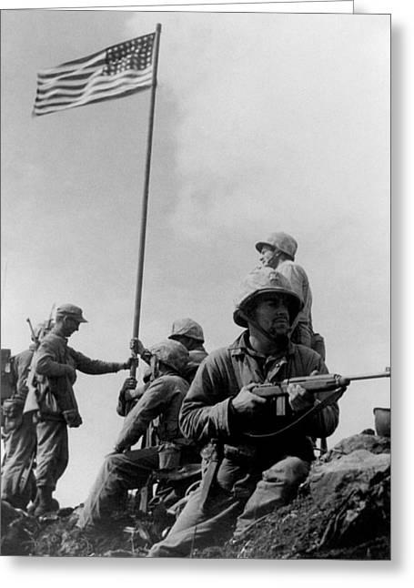 1st Flag Raising On Iwo Jima  Greeting Card