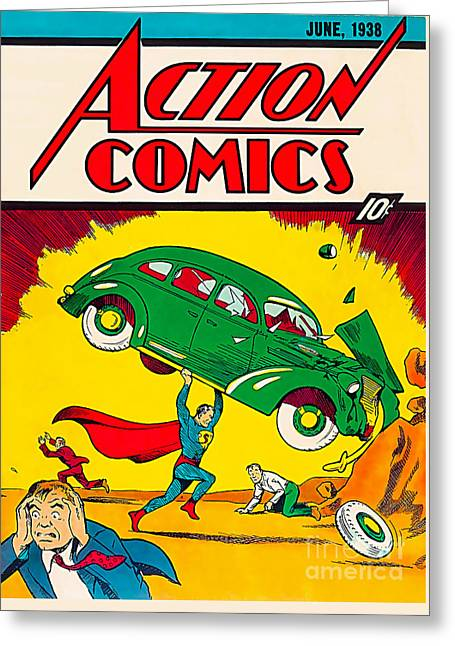 1st Superman Comic 1938 Greeting Card by Marvin Blaine