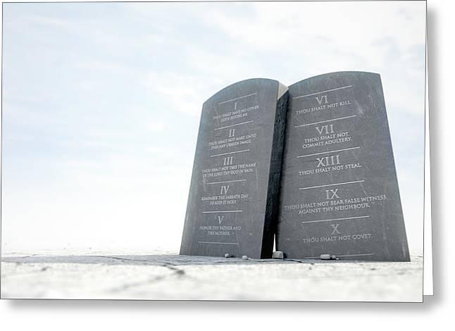 10 Commandments In Desert Greeting Card by Allan Swart