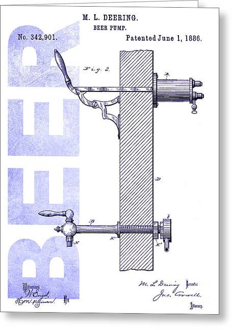 1886 Beer Pump Patent Blueprint Greeting Card