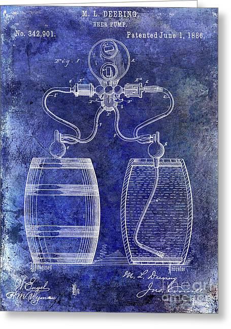 1886 Beer Pump Patent Greeting Card