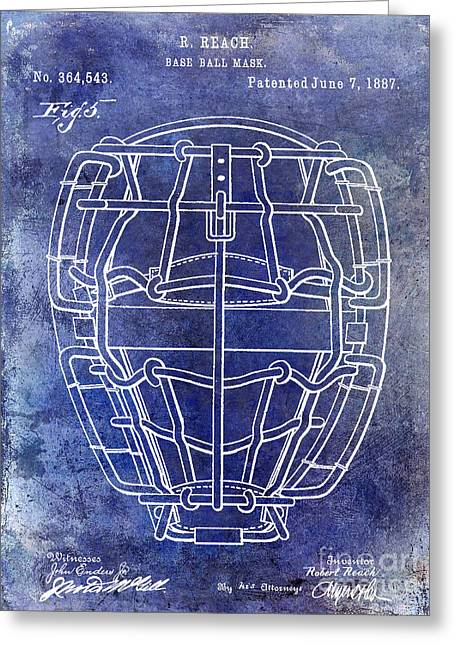 1887 Baseball Mask Patent Blue Greeting Card by Jon Neidert