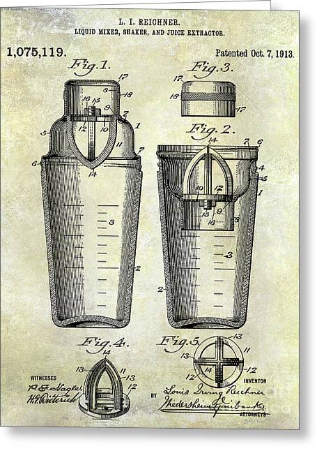 1913 Cocktail Shaker Patent Greeting Card