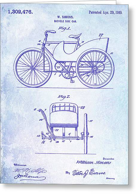 1919 Bicycle Patent Greeting Card by Jon Neidert
