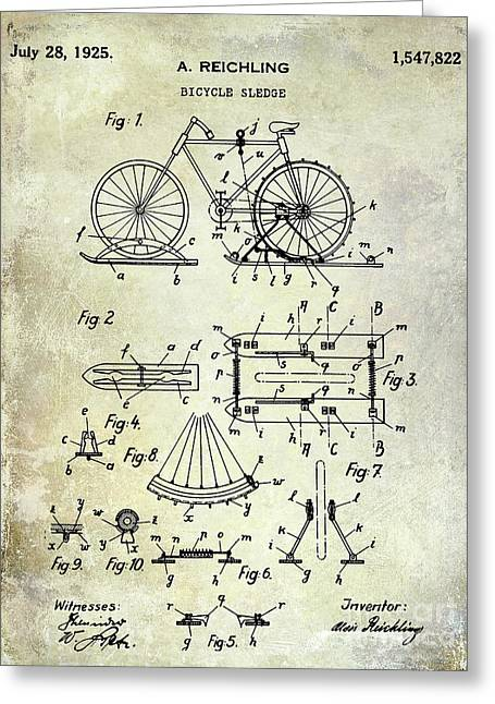 1925 Bicycle Patent Greeting Card by Jon Neidert