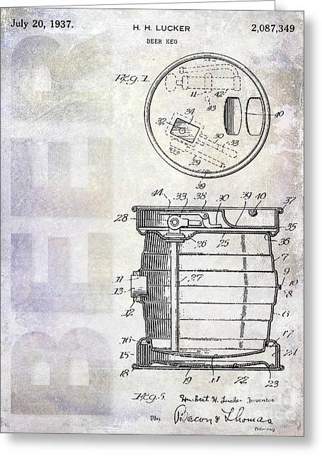 1937 Beer Keg Patent Greeting Card