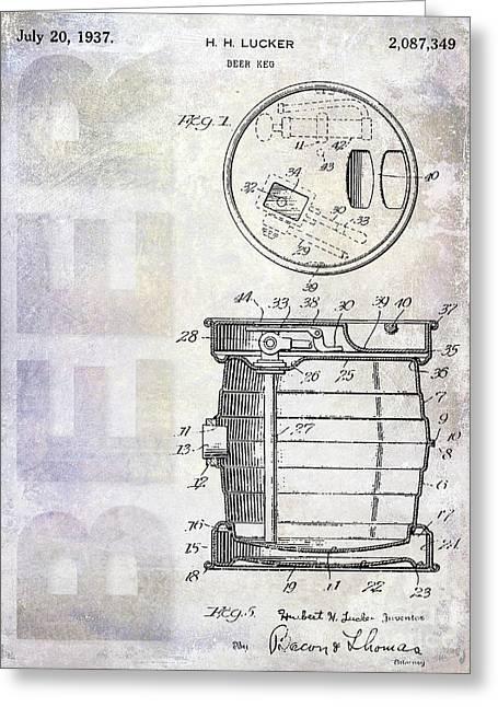 1937 Beer Keg Patent Greeting Card by Jon Neidert
