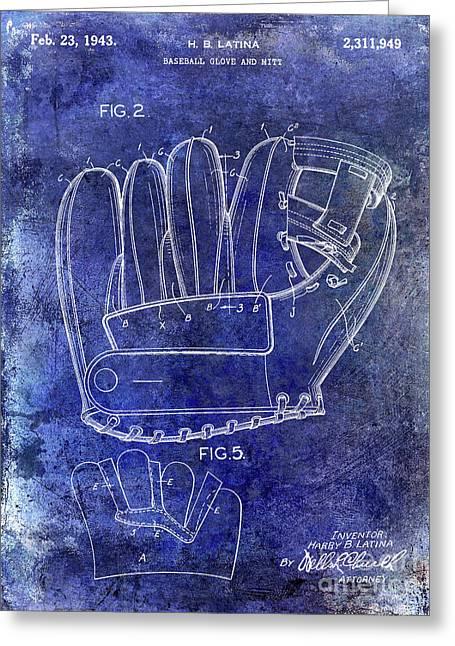 1943 Baseball Glove Patent Greeting Card by Jon Neidert