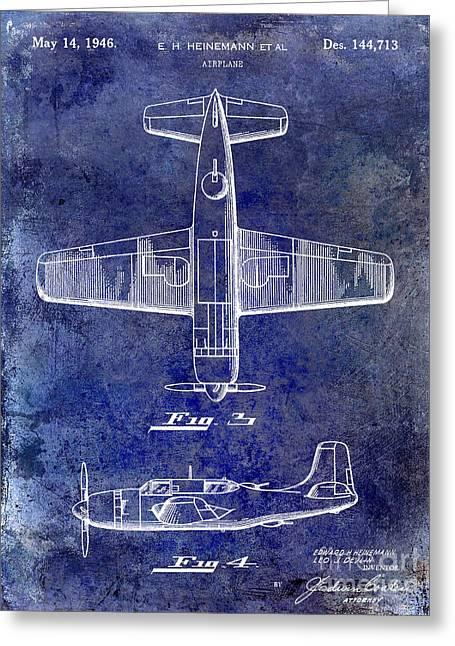 1946 Airplane Patent Blue Greeting Card by Jon Neidert