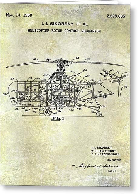 1950 Helicopter Patent Greeting Card by Jon Neidert