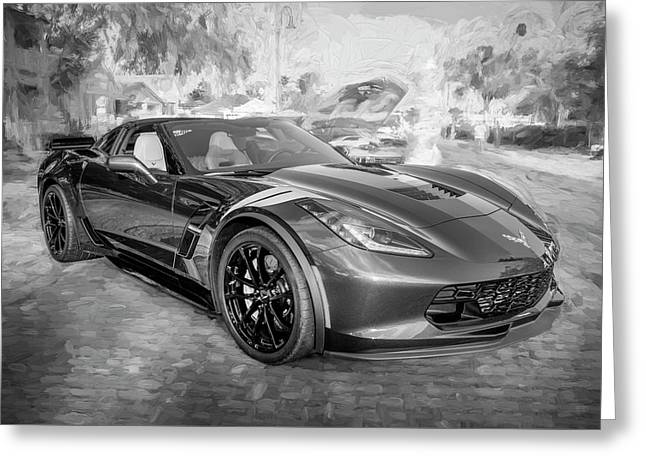 Greeting Card featuring the photograph 2017 Chevrolet Corvette Gran Sport Bw by Rich Franco