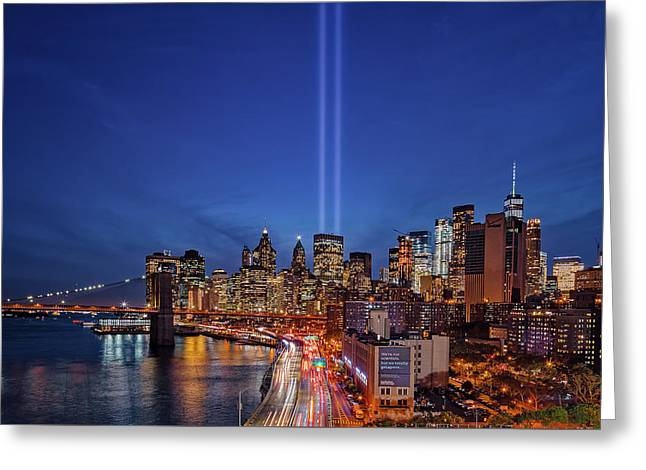 911 Tribute In Light In Nyc Greeting Card