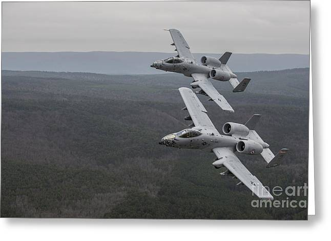 A-10 Thunderbolt IIs Flying Greeting Card by Stocktrek Images