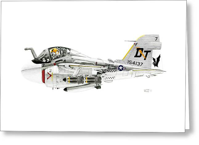 A-6e Intruder Caricature Greeting Card by Morrell Cravens