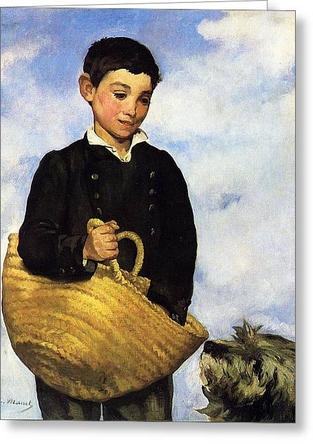 A Boy With A Dog Greeting Card by Edouard Manet