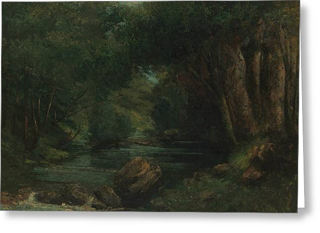 A Brook In The Forest Greeting Card by Gustave Courbet