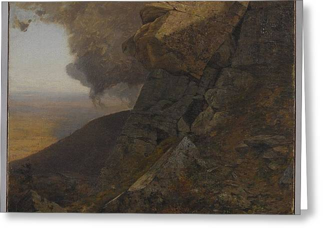 A Cliff In The Katskills Greeting Card by Jervis McEntee