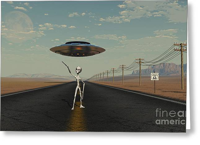 A Grey Alien Hitching A Ride Greeting Card by Mark Stevenson