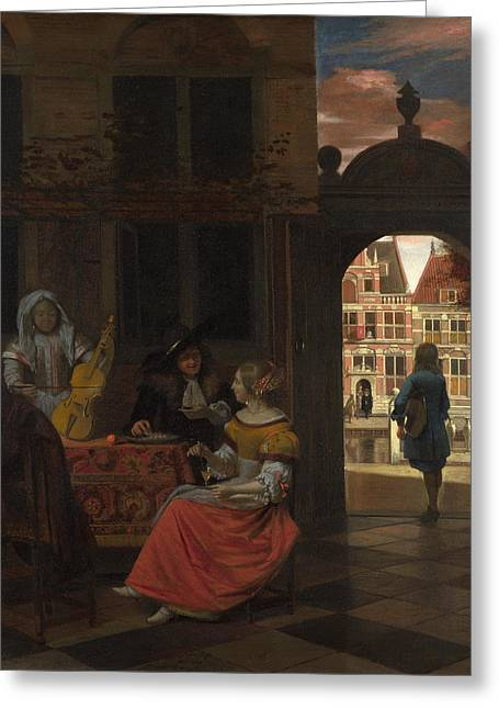 A Musical Party In A Courtyard Greeting Card