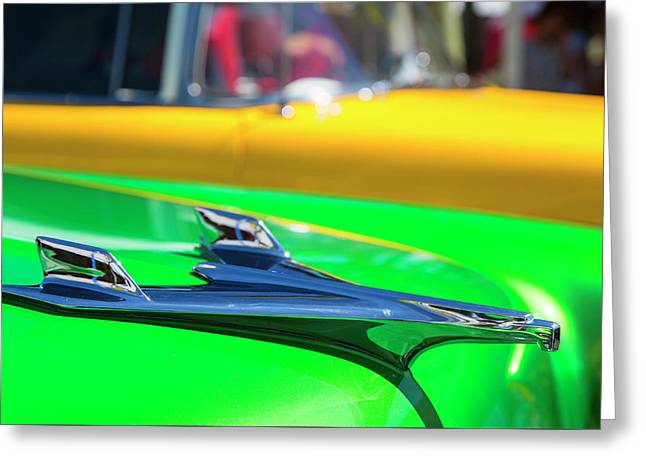 A Pair Of 1956 Chevrolet Bel Air In Green And Yellow Greeting Card by Russ Dixon