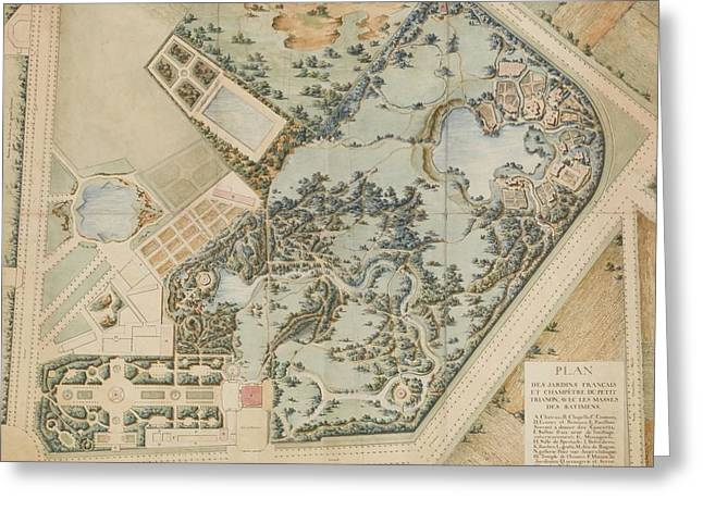 A Plan Of The Petit Trianon And Its Gardens Greeting Card by Richard Mique