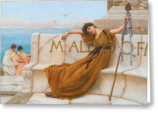 A Priestess Of Bacchus Greeting Card by John William Godward