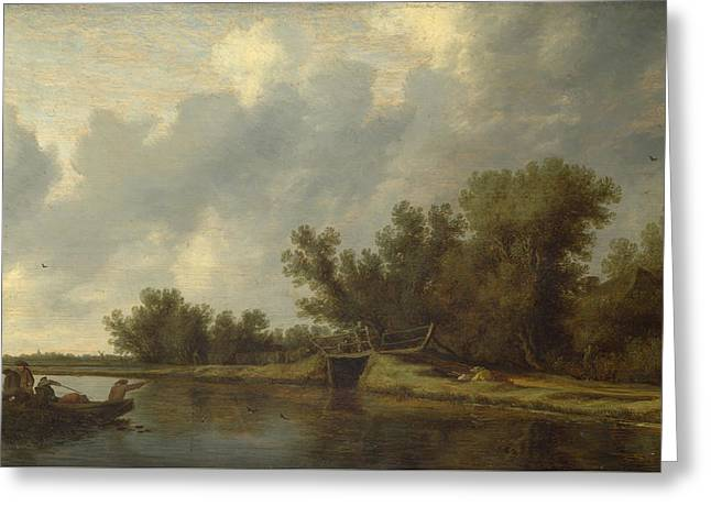 A River Landscape With Fishermen Greeting Card