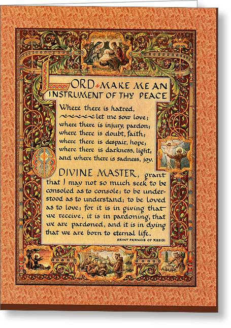 A Simple Prayer For Peace By St. Francis Of Assisi Greeting Card