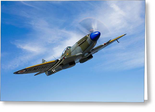 A Supermarine Spitfire Mk-18 In Flight Greeting Card by Scott Germain