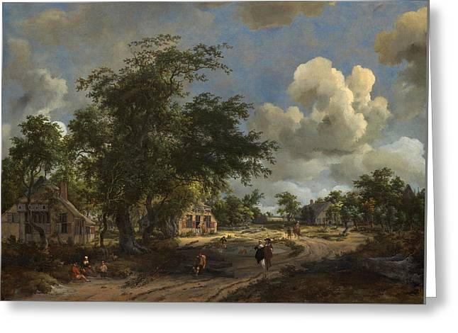 A View On A High Road Greeting Card by Meindert Hobbema