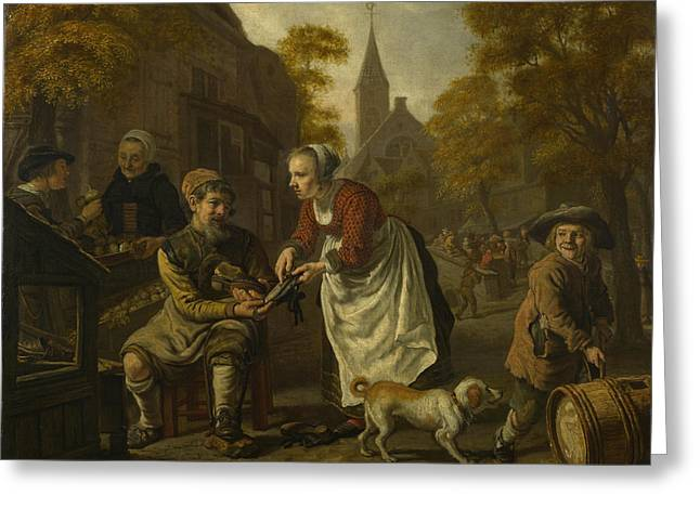A Village Scene With A Cobbler Greeting Card by Jan Victors