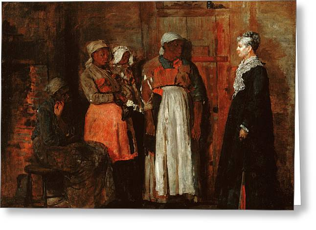 A Visit From The Old Mistress Greeting Card by Winslow Homer