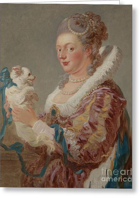 A Woman With A Dog Greeting Card by Jean Honore Fragonard