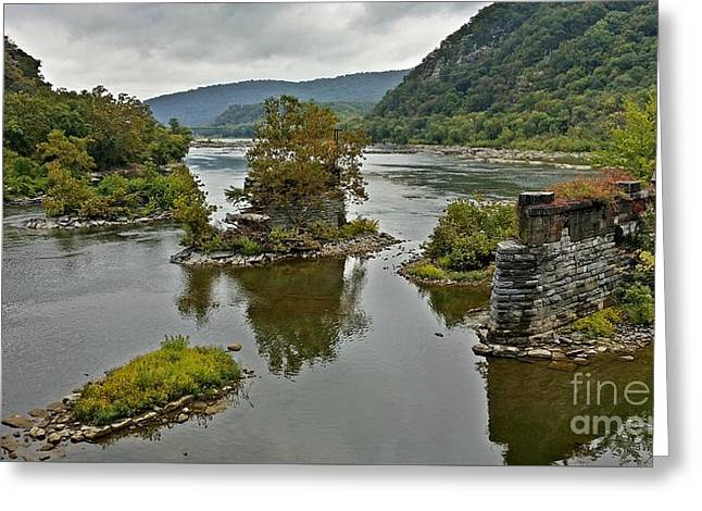Abandoned Bridge Piers At Harpers Ferry Greeting Card by Ben Schumin