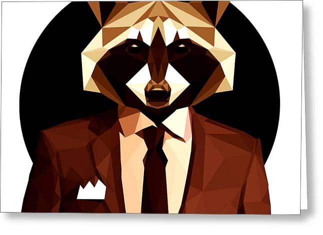 Abstract Geometric Raccoon Greeting Card