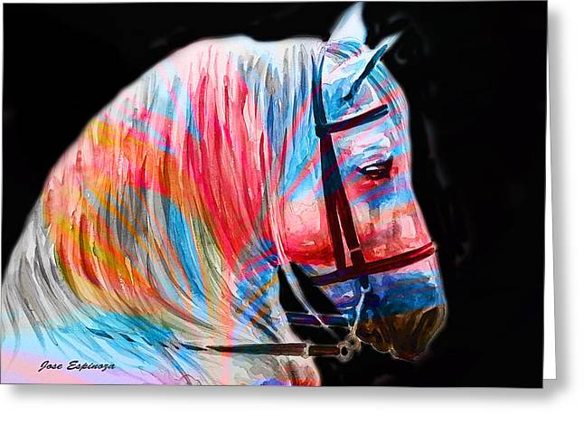 Greeting Card featuring the painting Abstract White Horse 19 by J- J- Espinoza