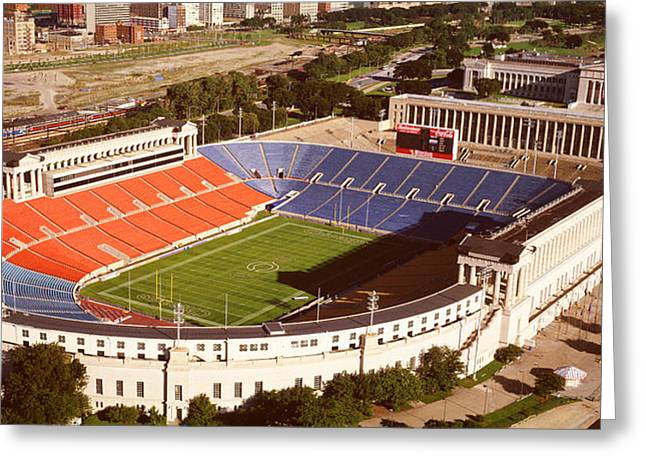 Aerial View Of A Stadium, Soldier Greeting Card