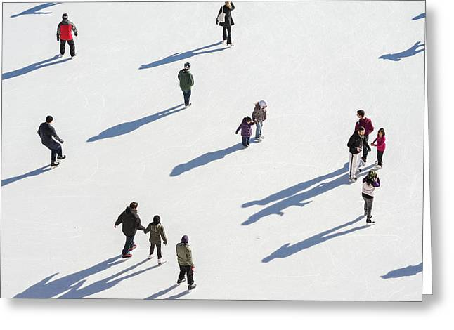 Aerial View Of Ice Skating Greeting Card