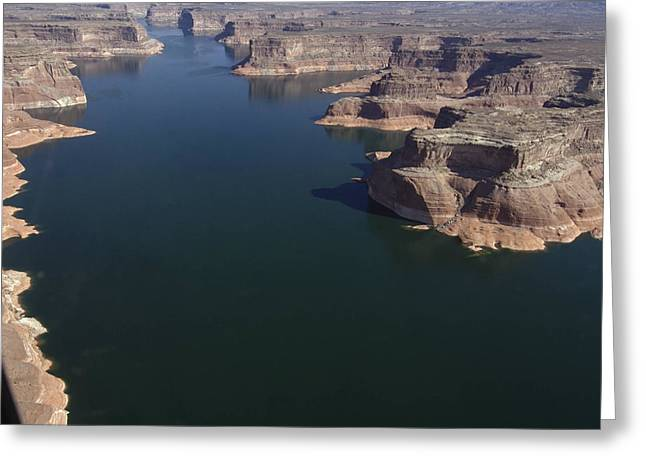 Aerial View Of Lake Powell Greeting Card by Carl Purcell